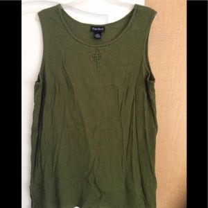 Green color,beaded front women top plus 1X(2/$16)